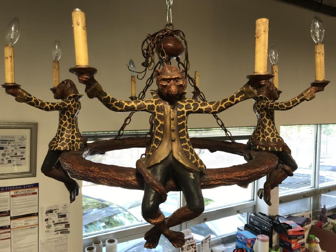 Composite Painted Monkey Detailed Chandelier
