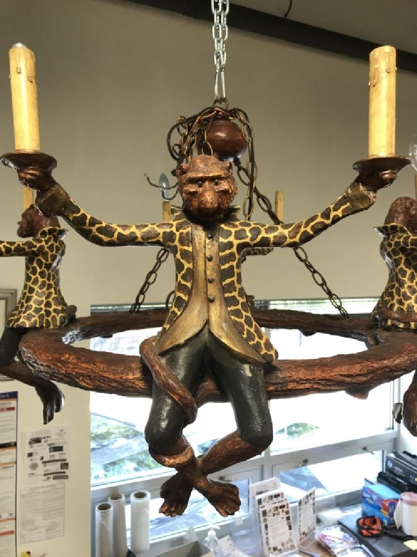 Composite Painted Monkey Detailed Chandelier - 2