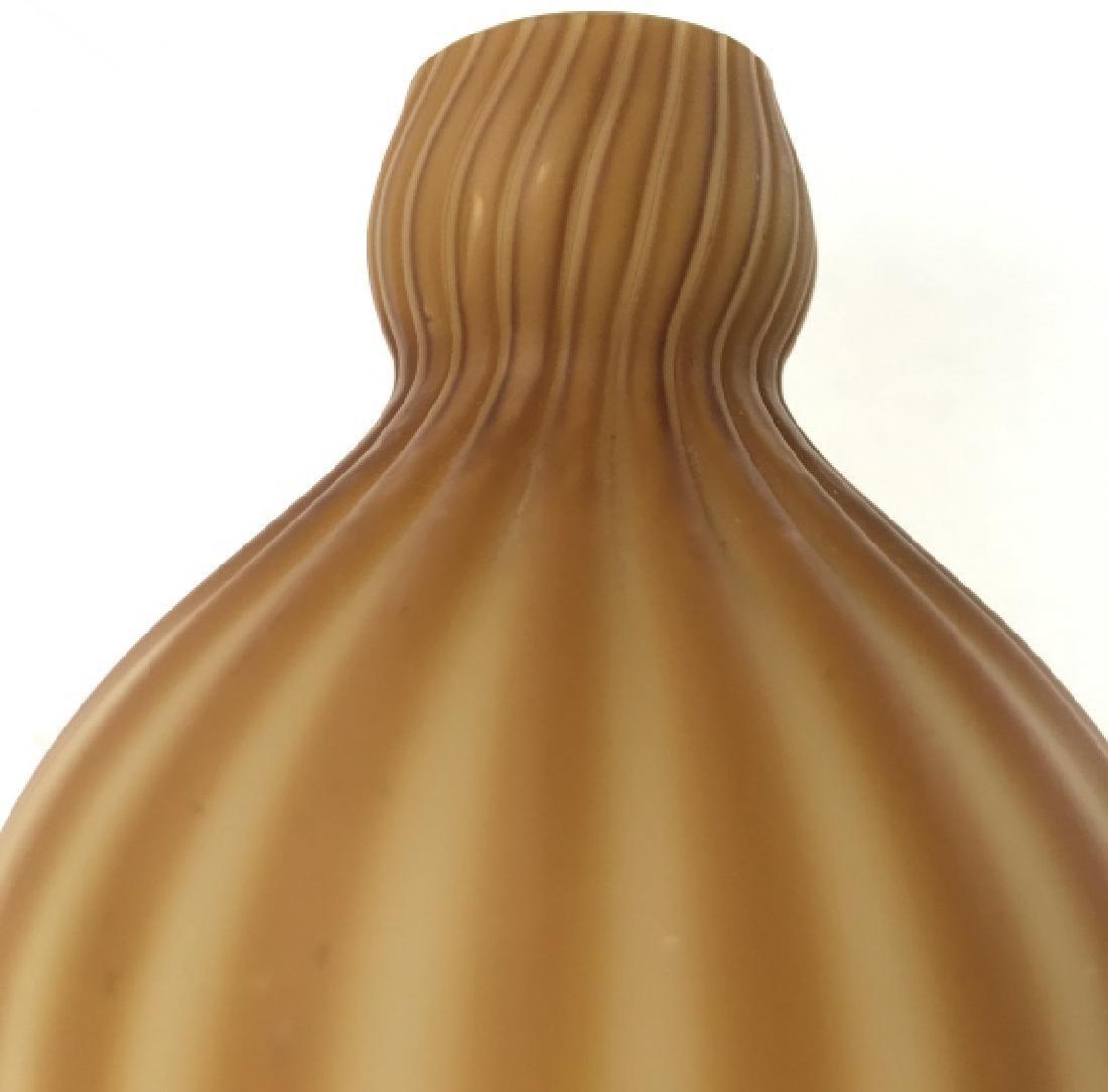 Orange Toned Art Glass Vase - 5