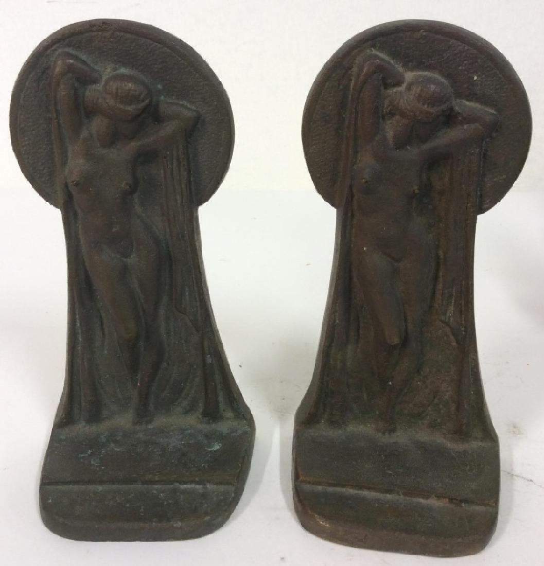 Pair Cast Iron Nude Deco Bookends - 2