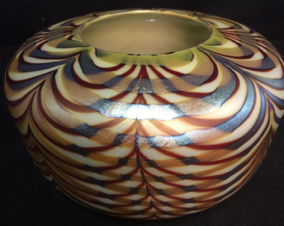 Signed Donald Carlson Art Glass Bowl Vase