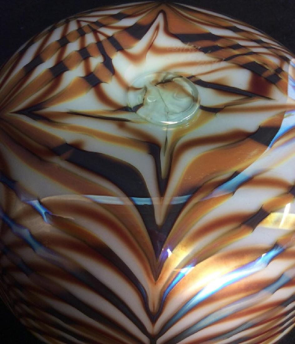 Signed Donald Carlson Art Glass Bowl Vase - 5