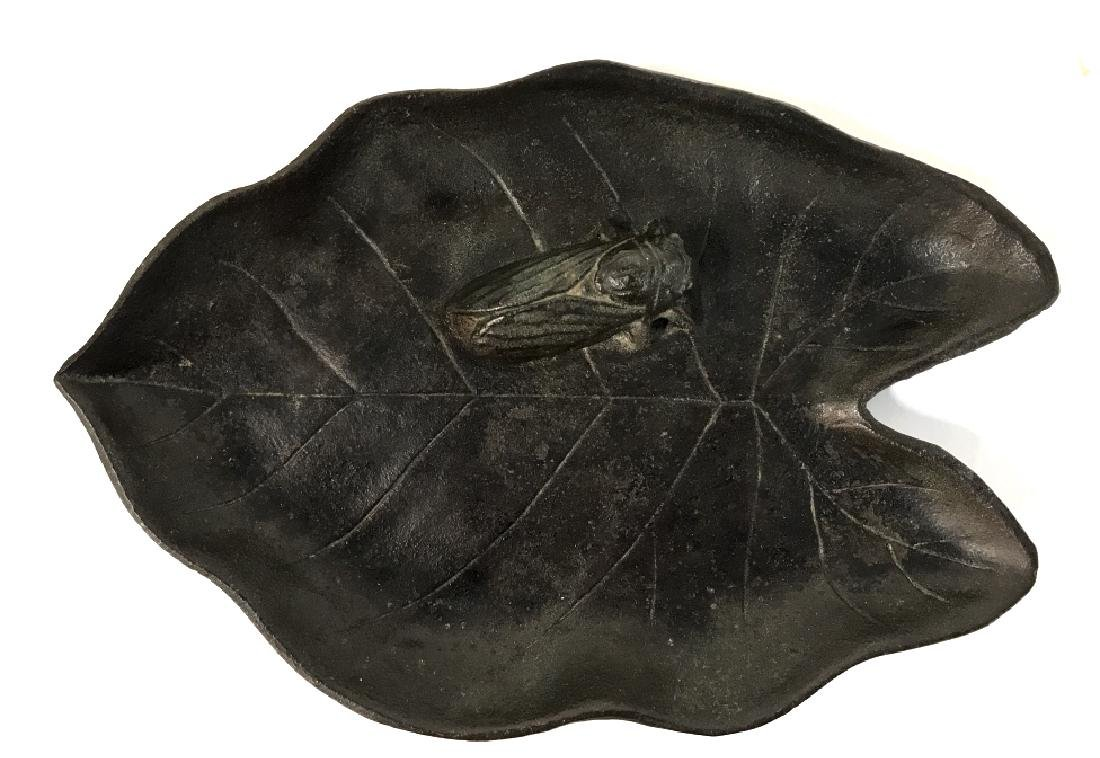 Japanese Bronze Cricket Leaf Tray