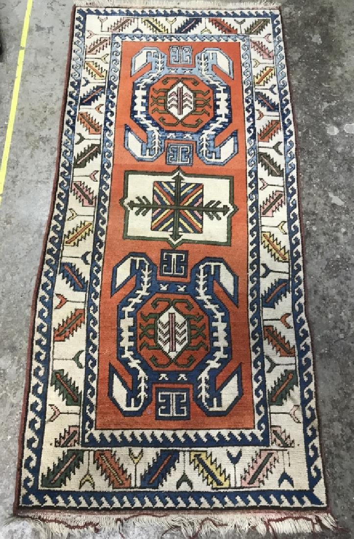 Vintage Handmade Fringed Oriental Rug - 2