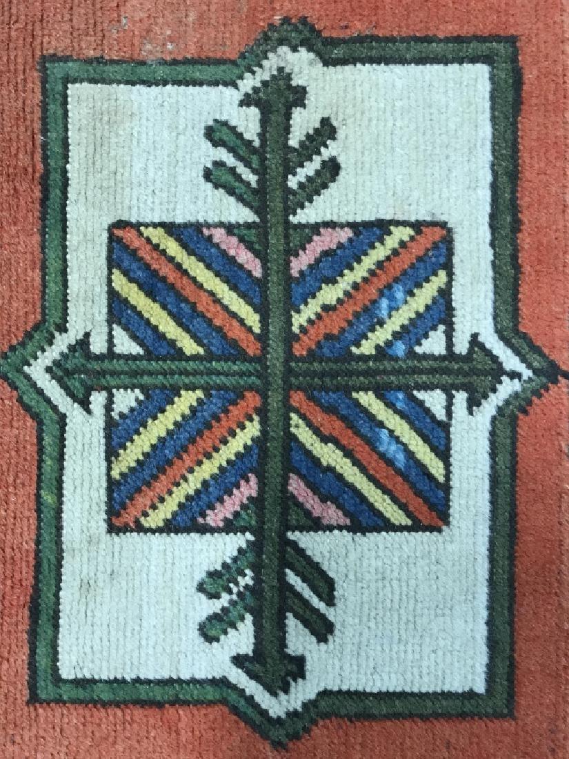 Vintage Handmade Fringed Oriental Rug - 4
