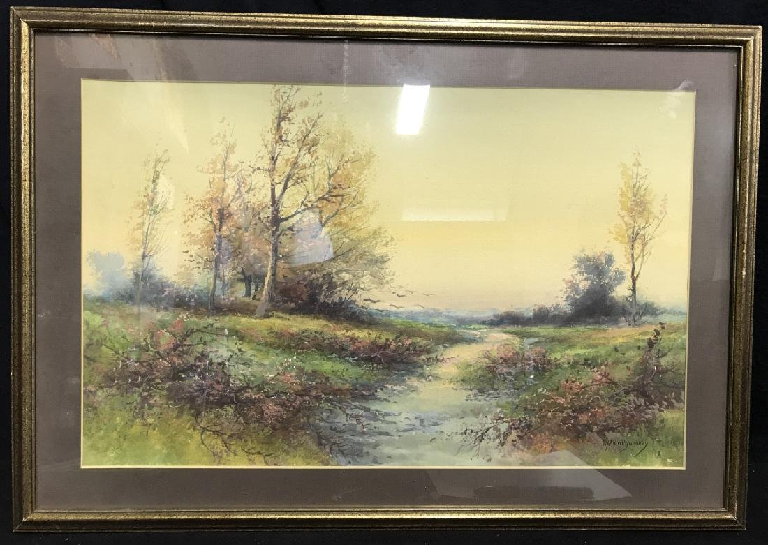 Watercolor Of Country Stream Signed T. Montgomery