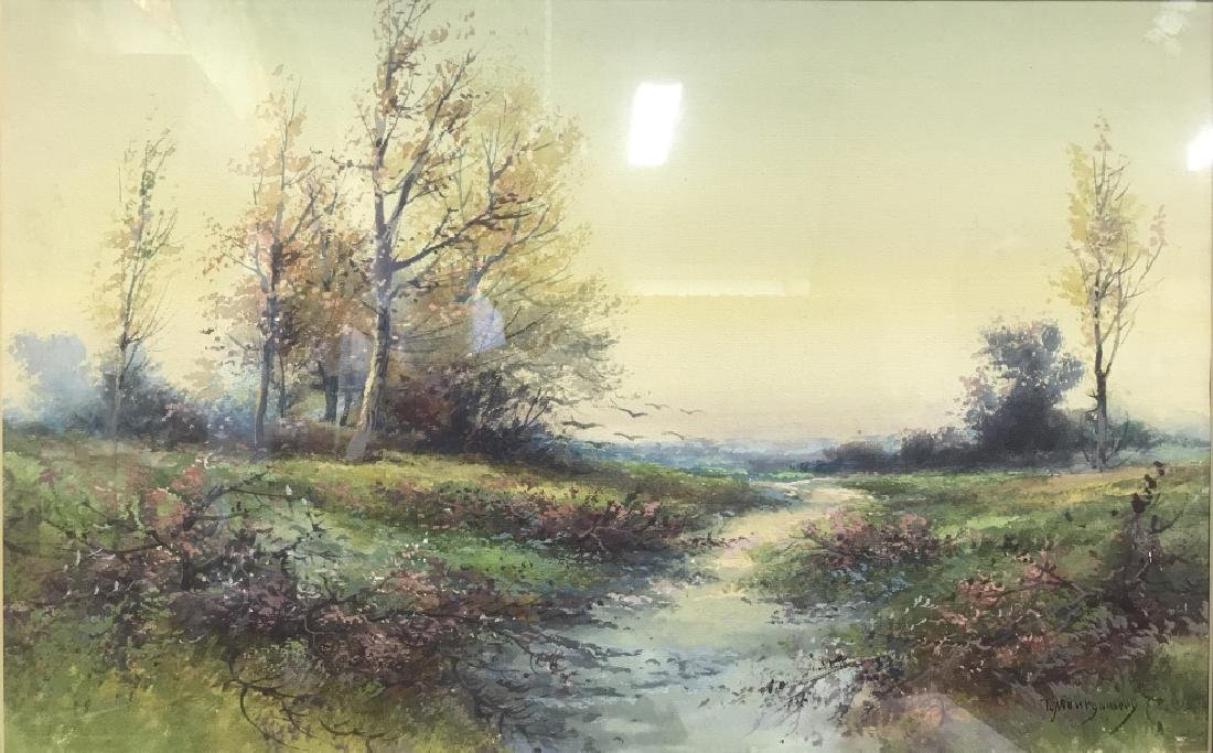 Watercolor Of Country Stream Signed T. Montgomery - 2