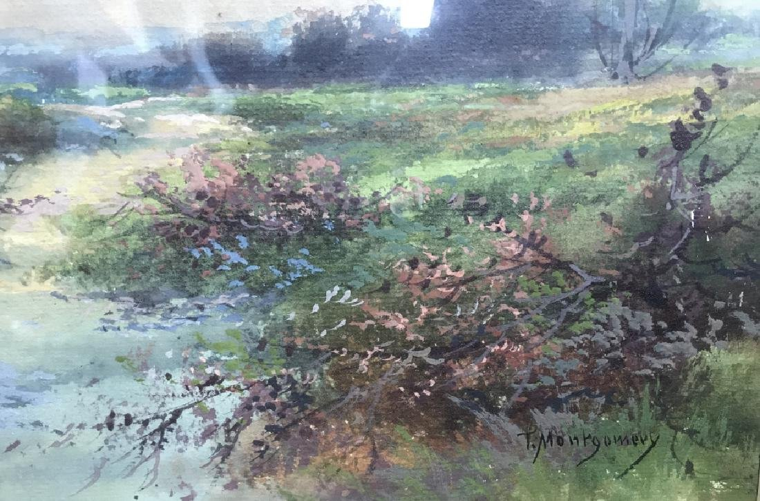 Watercolor Of Country Stream Signed T. Montgomery - 3