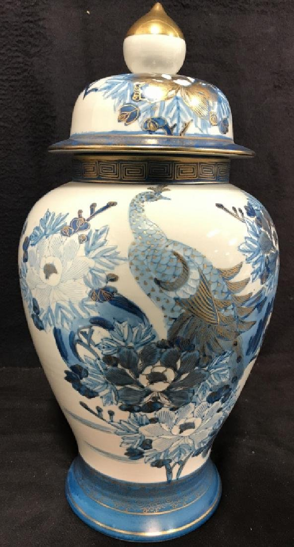 Pair Asian Porcelain Ginger Jars W Lids - 2