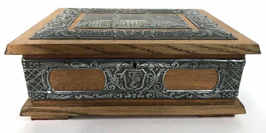 W STOSIO Oak & Silver Toned Decorated Poland Box