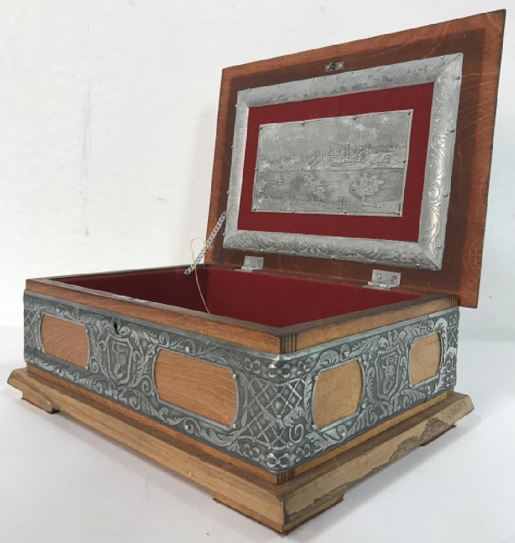 W STOSIO Oak & Silver Toned Decorated Poland Box - 5