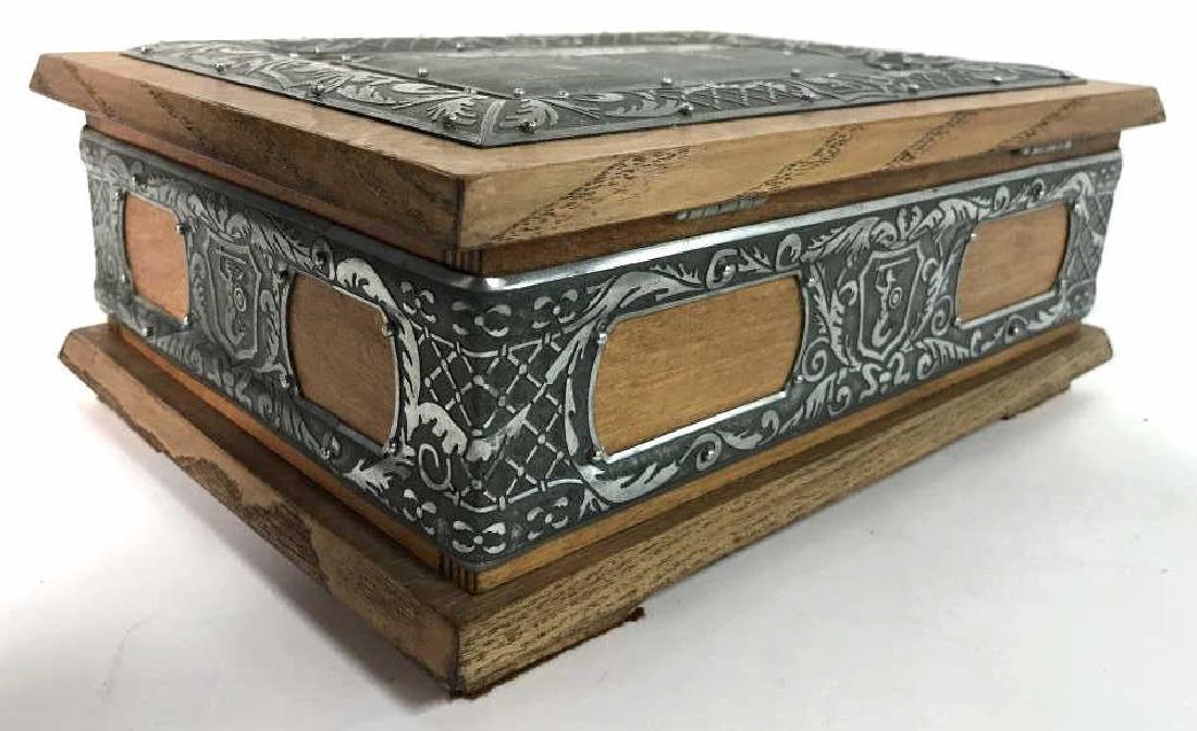 W STOSIO Oak & Silver Toned Decorated Poland Box - 7