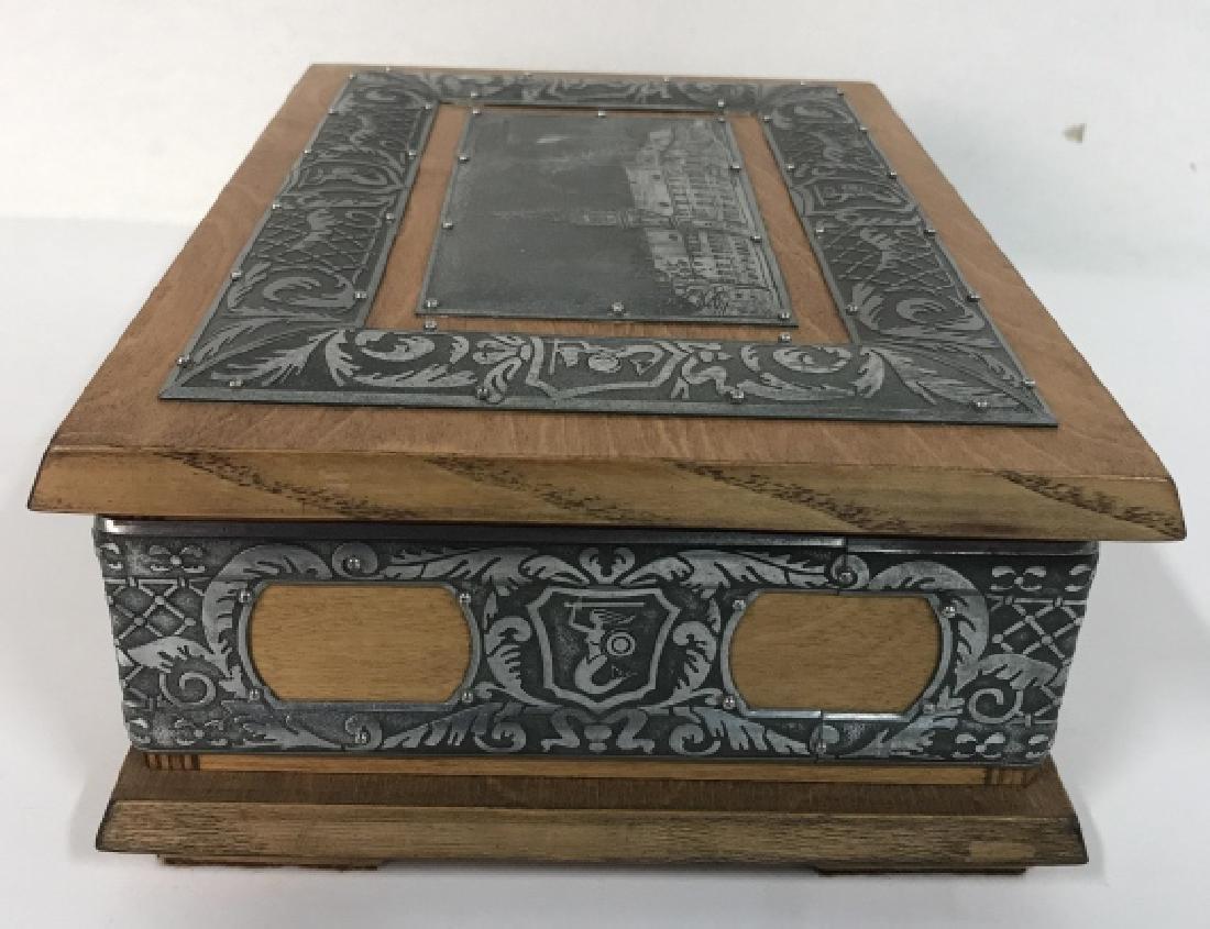 W STOSIO Oak & Silver Toned Decorated Poland Box - 9