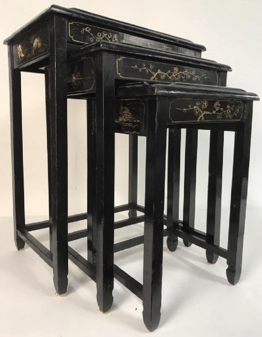 Lot 3 Laquer Mother Of Pearl Asian Nesting Tables - 2