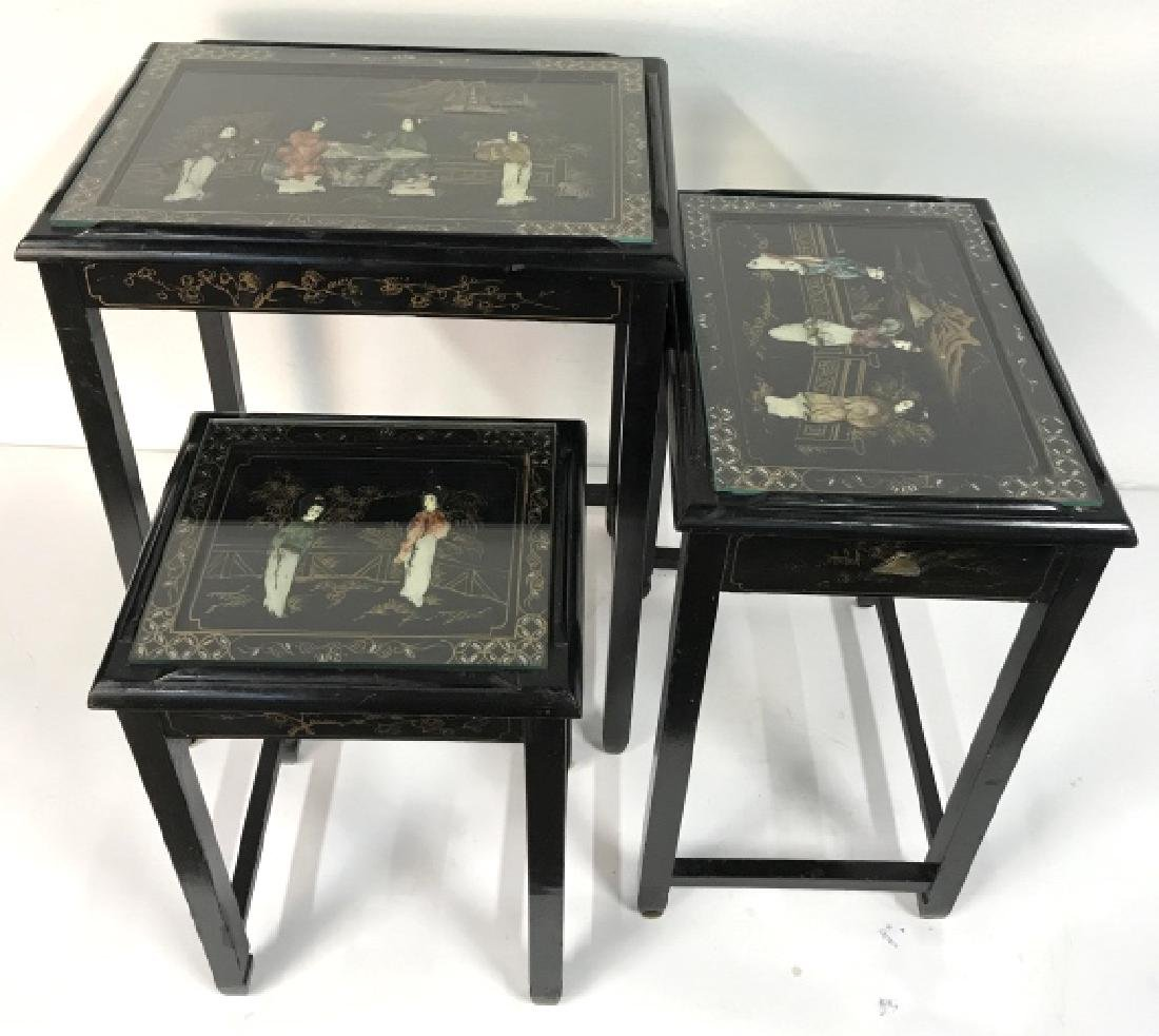 Lot 3 Laquer Mother Of Pearl Asian Nesting Tables - 6
