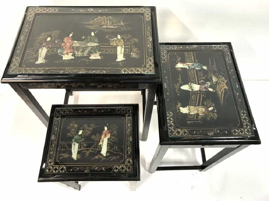 Lot 3 Laquer Mother Of Pearl Asian Nesting Tables - 7