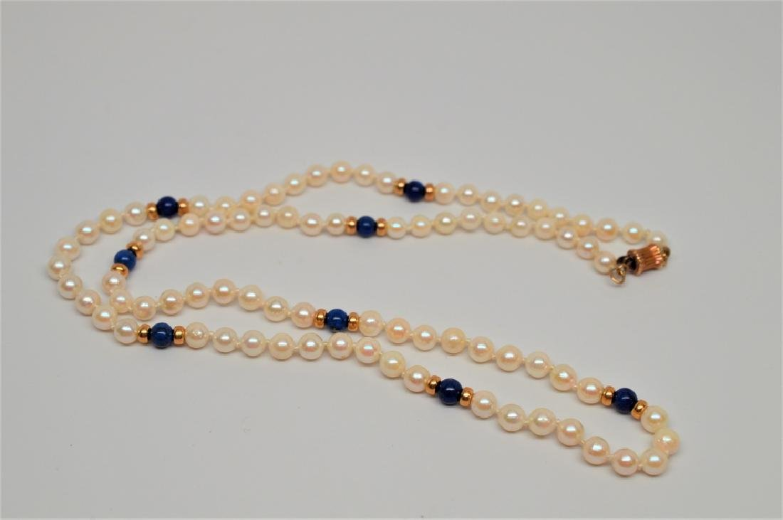 Pearl & Lapis Bead Necklace