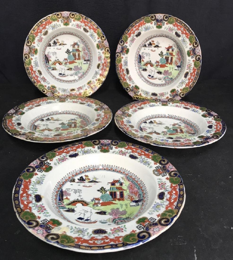 Set 5 Ashworth Ironstone Ceramic Porcelain Plates