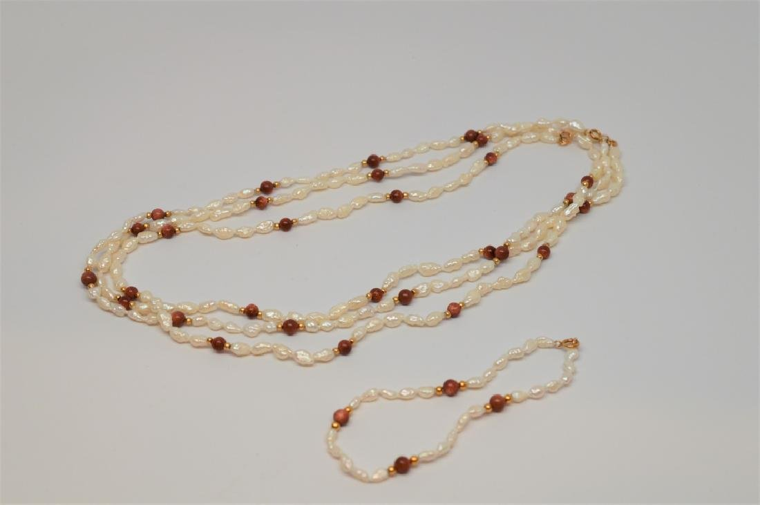 Seed Pearl Necklace with Copper Beads & Bracelet