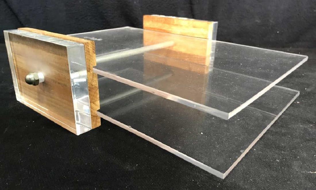 Mid Century Modern Lucite & Wood Desk Organizer