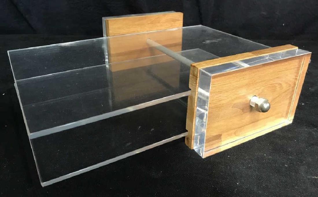 Mid Century Modern Lucite & Wood Desk Organizer - 2