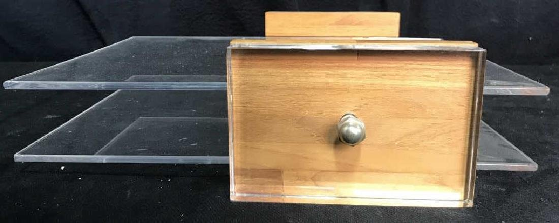 Mid Century Modern Lucite & Wood Desk Organizer - 3