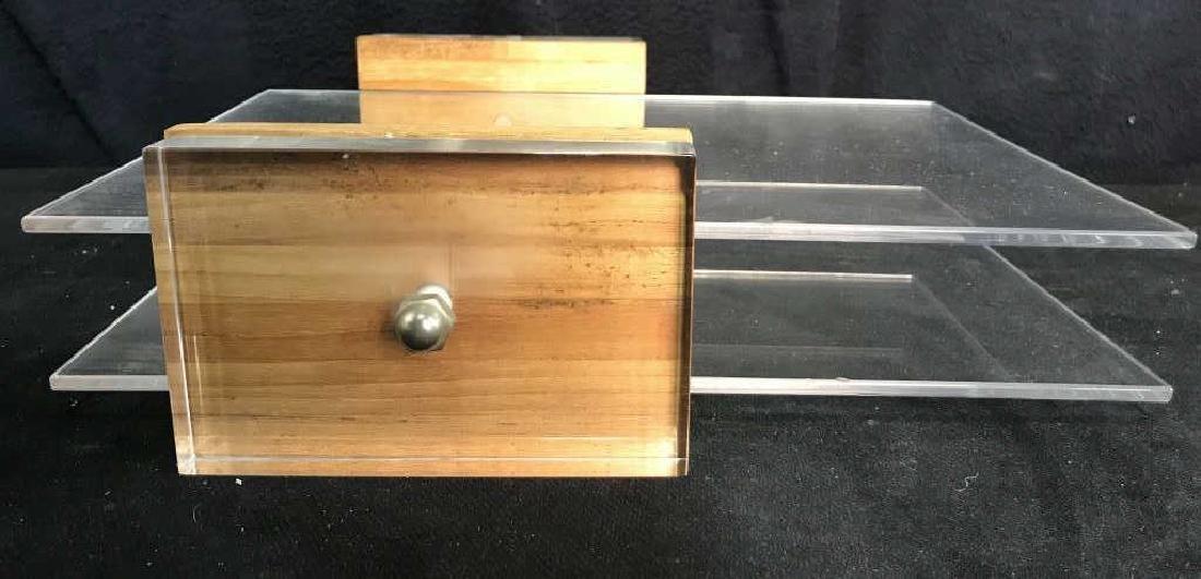 Mid Century Modern Lucite & Wood Desk Organizer - 5