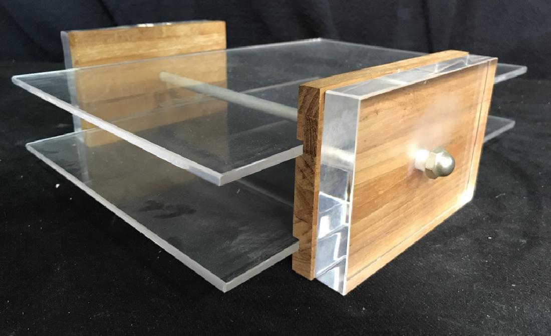 Mid Century Modern Lucite & Wood Desk Organizer - 6