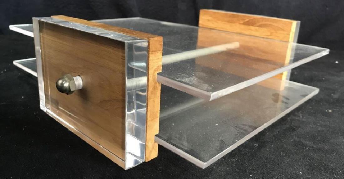 Mid Century Modern Lucite & Wood Desk Organizer - 7