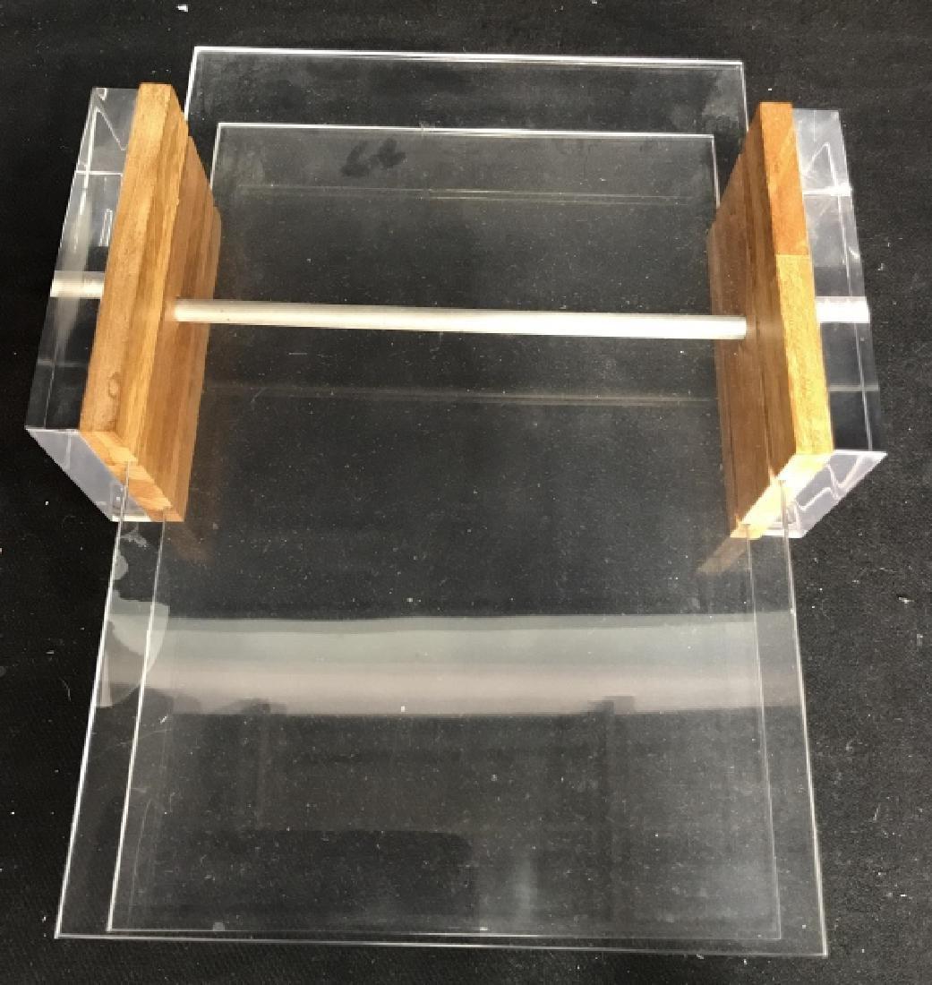 Mid Century Modern Lucite & Wood Desk Organizer - 8