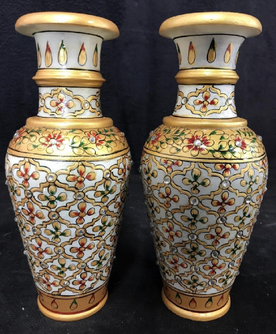 Pair Indian Meenakari Hand Painted Marble Vases