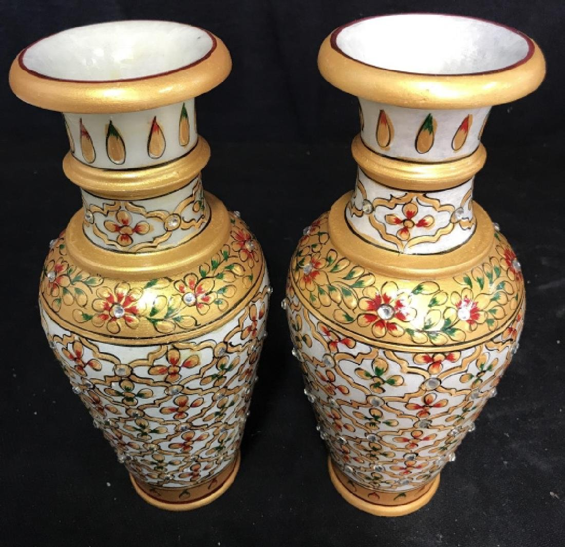 Pair Indian Meenakari Hand Painted Marble Vases - 2
