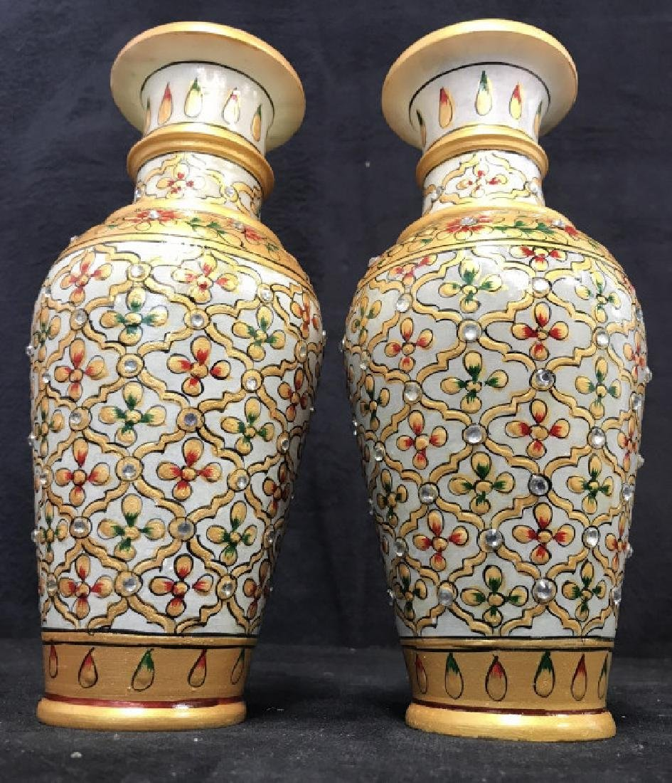 Pair Indian Meenakari Hand Painted Marble Vases - 3