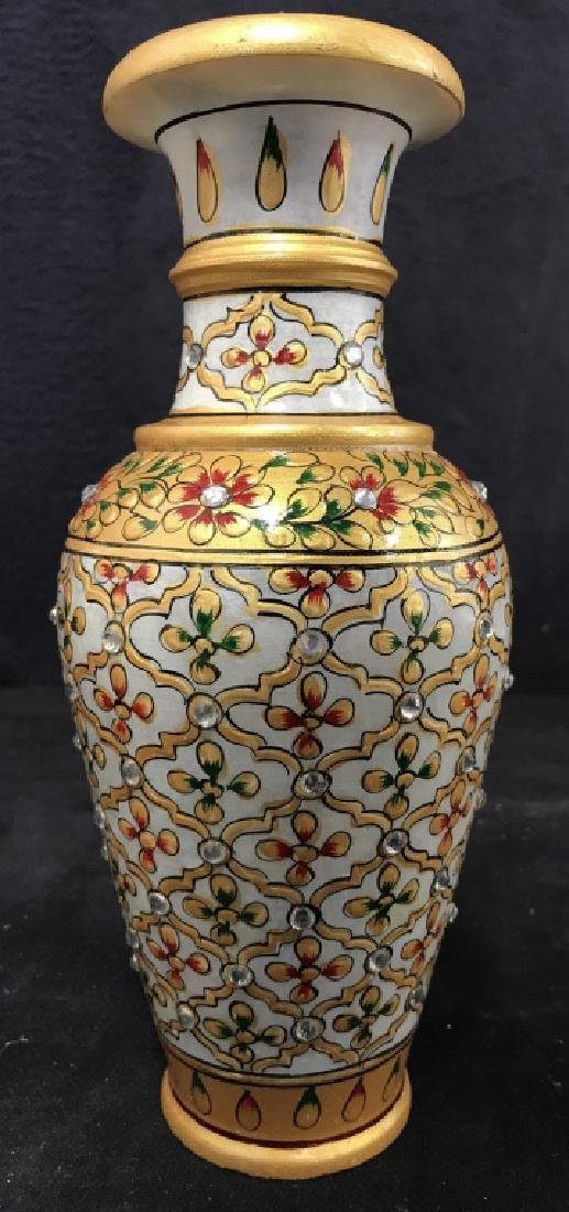 Pair Indian Meenakari Hand Painted Marble Vases - 4