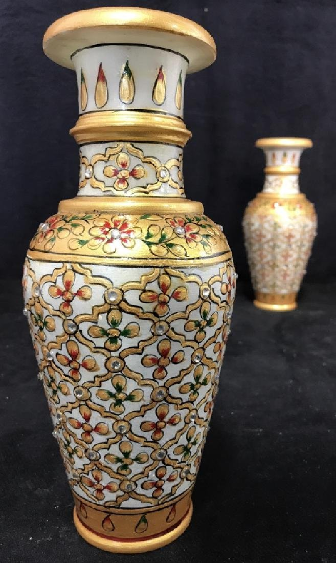 Pair Indian Meenakari Hand Painted Marble Vases - 5