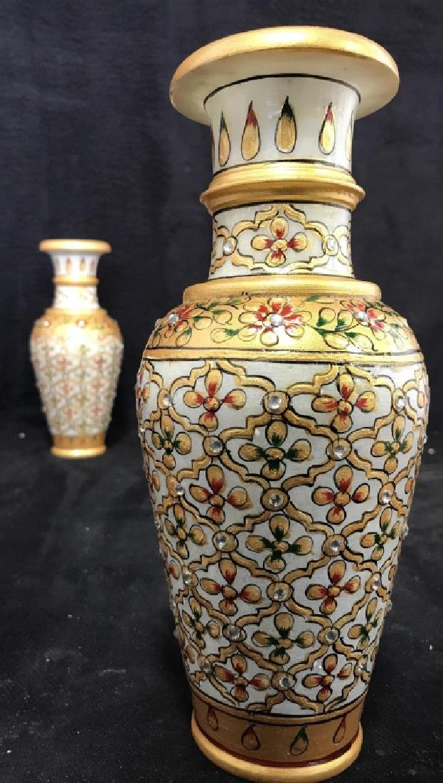 Pair Indian Meenakari Hand Painted Marble Vases - 6