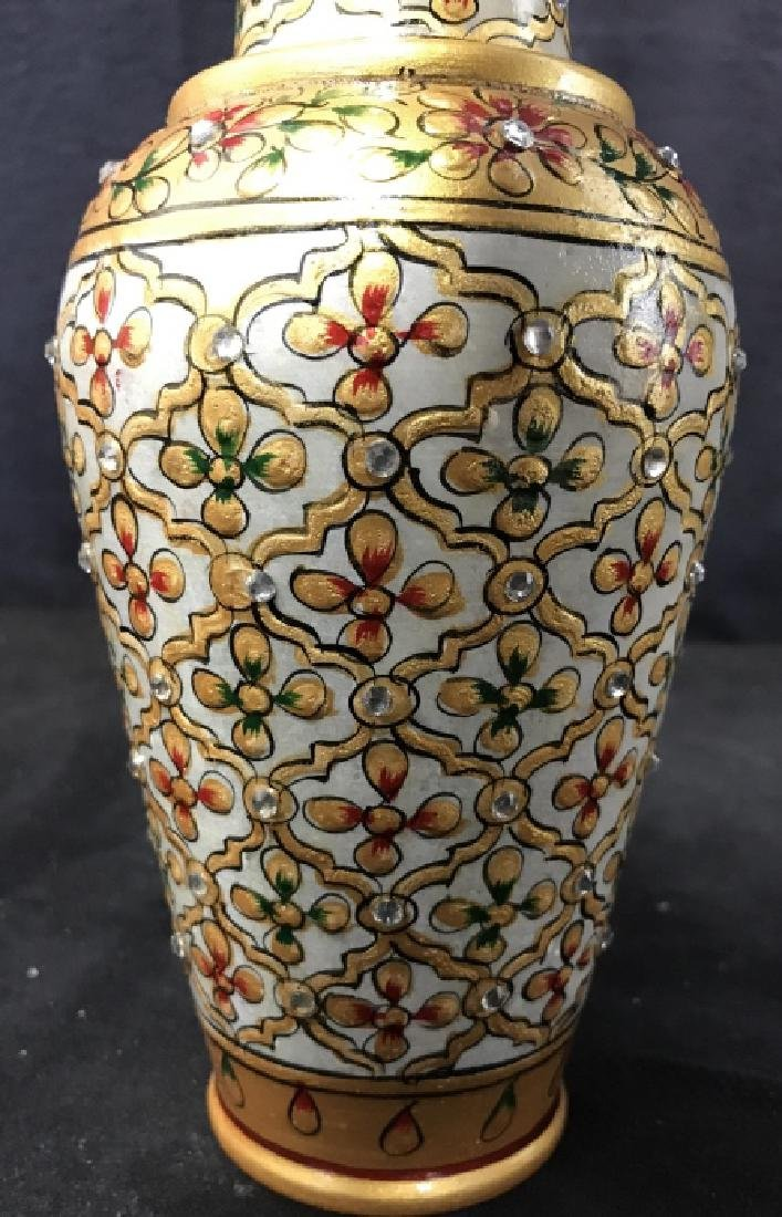 Pair Indian Meenakari Hand Painted Marble Vases - 8