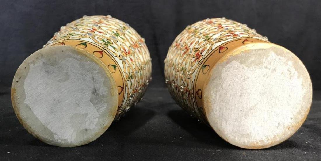 Pair Indian Meenakari Hand Painted Marble Vases - 9