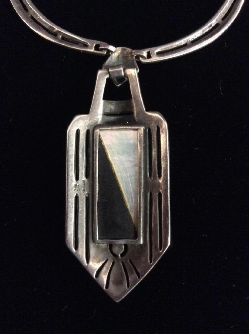 Art Deco Sterling Marcasite Necklace - 10