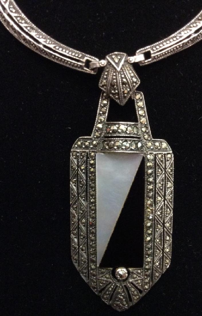 Art Deco Sterling Marcasite Necklace - 6