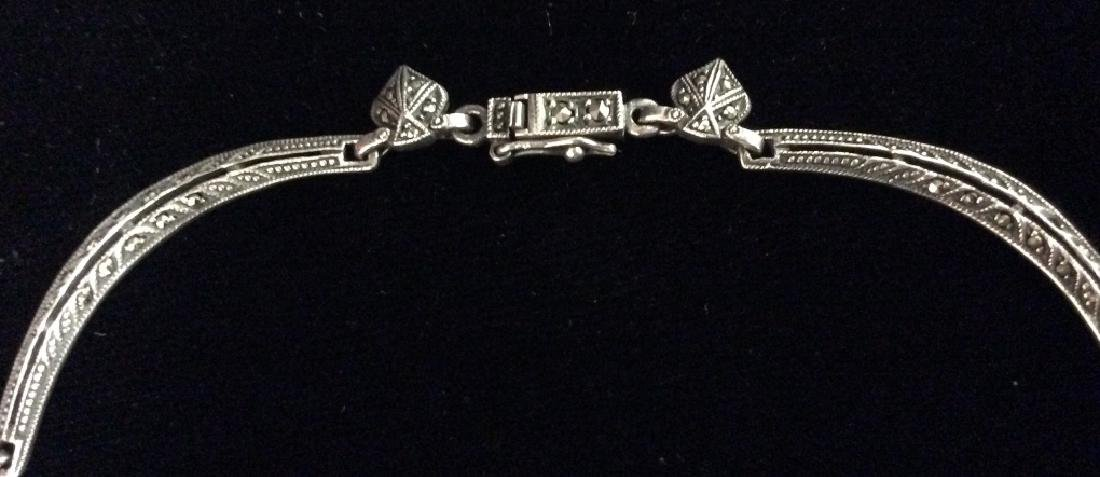 Art Deco Sterling Marcasite Necklace - 8