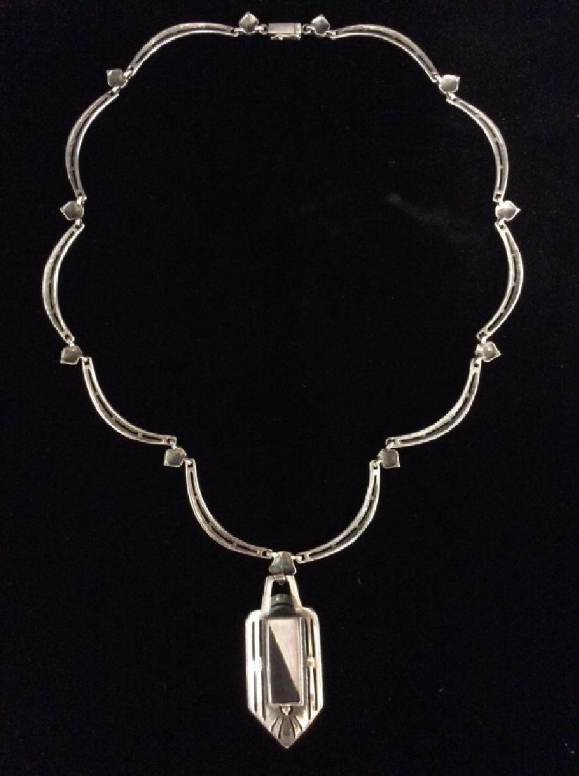 Art Deco Sterling Marcasite Necklace - 9