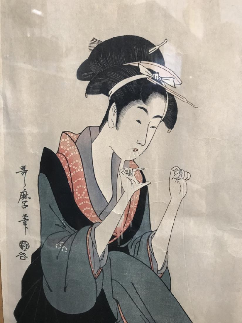 Vintage Japanese Print Of Woman Poss Woodblock