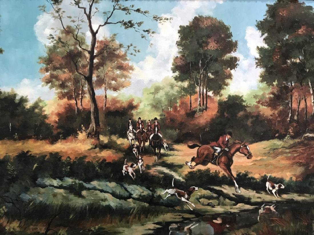 Framed Fox Hunt Oil On Canvas