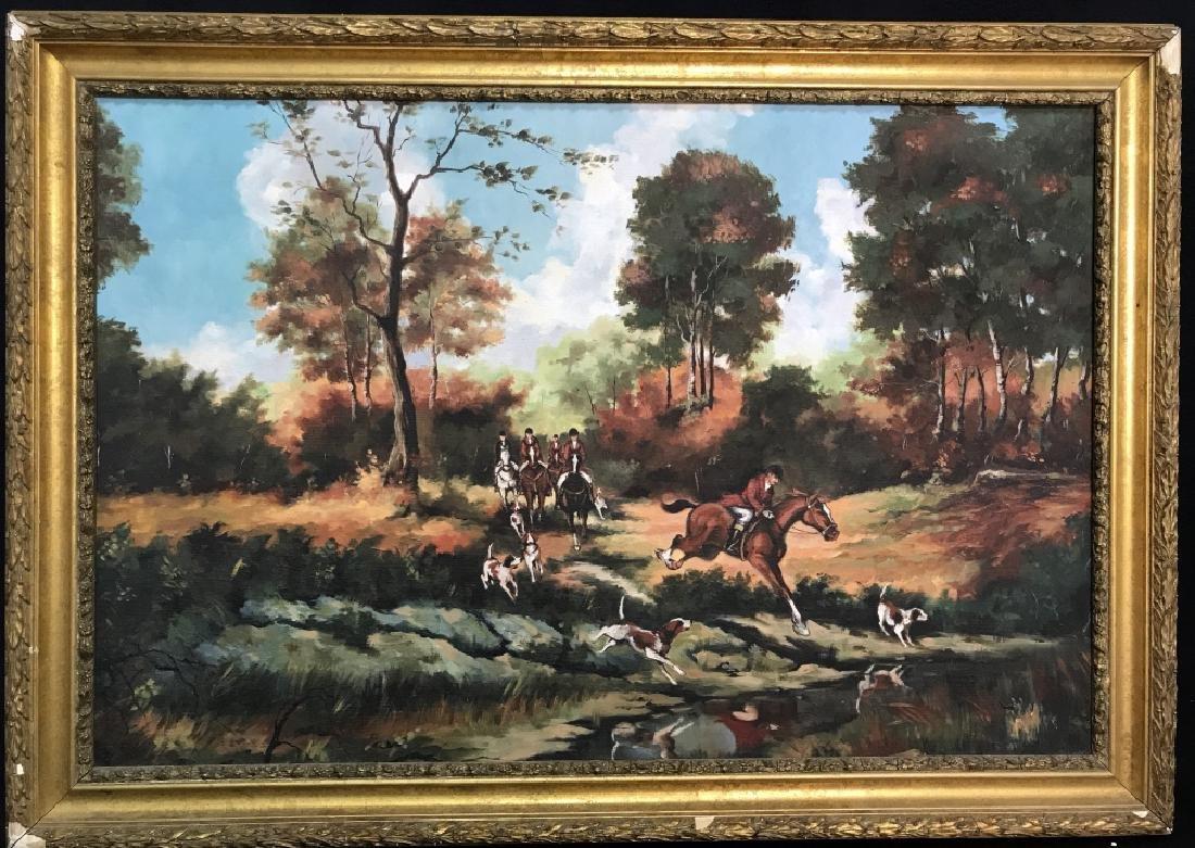 Framed Fox Hunt Oil On Canvas - 2