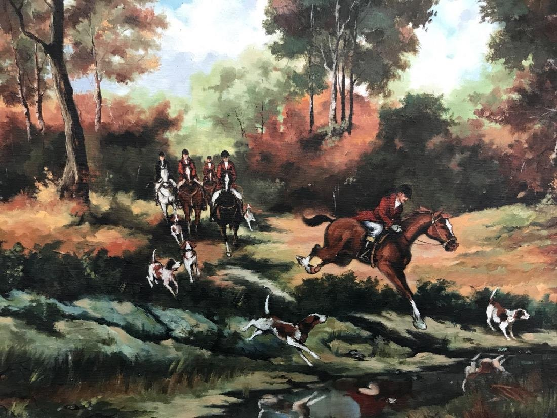 Framed Fox Hunt Oil On Canvas - 3