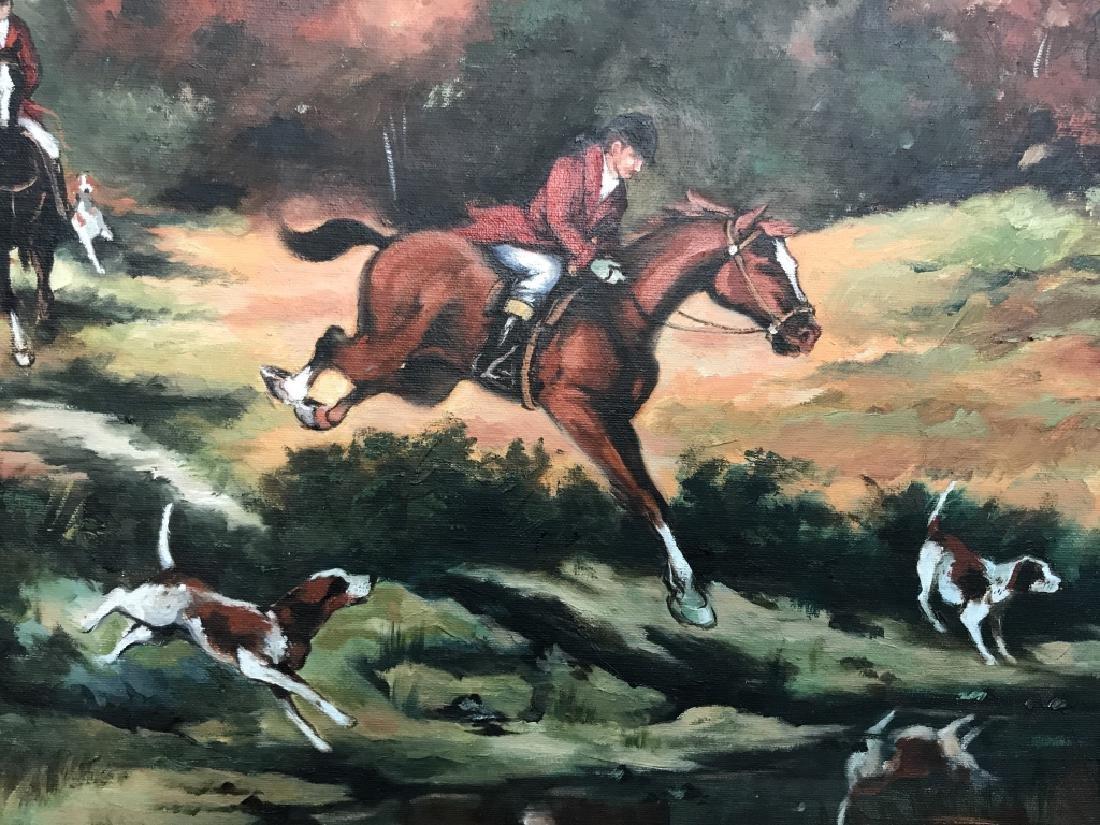 Framed Fox Hunt Oil On Canvas - 4