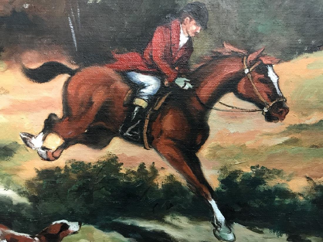 Framed Fox Hunt Oil On Canvas - 5