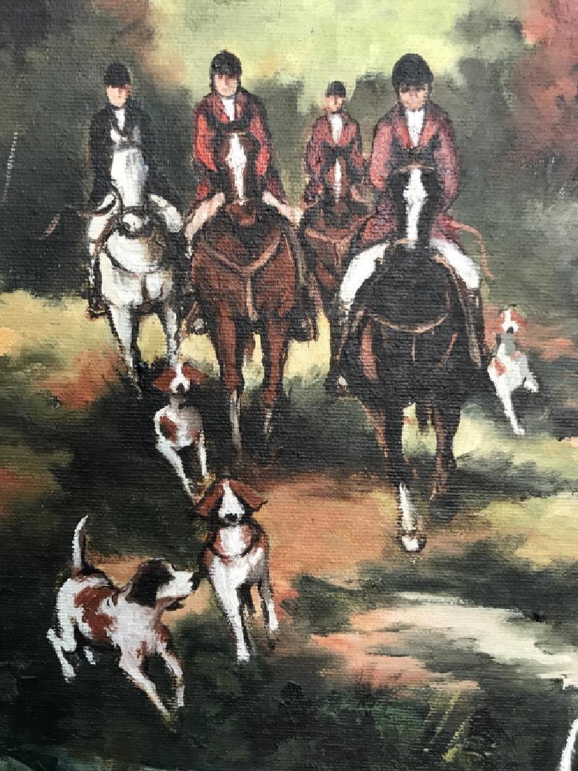 Framed Fox Hunt Oil On Canvas - 6