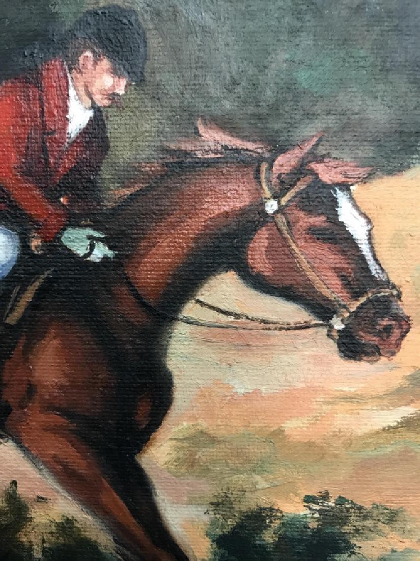 Framed Fox Hunt Oil On Canvas - 7